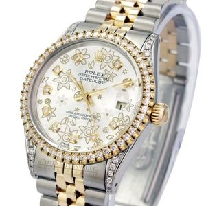 Rolex Unisex Datejust Silver Diamond Dial 36mm